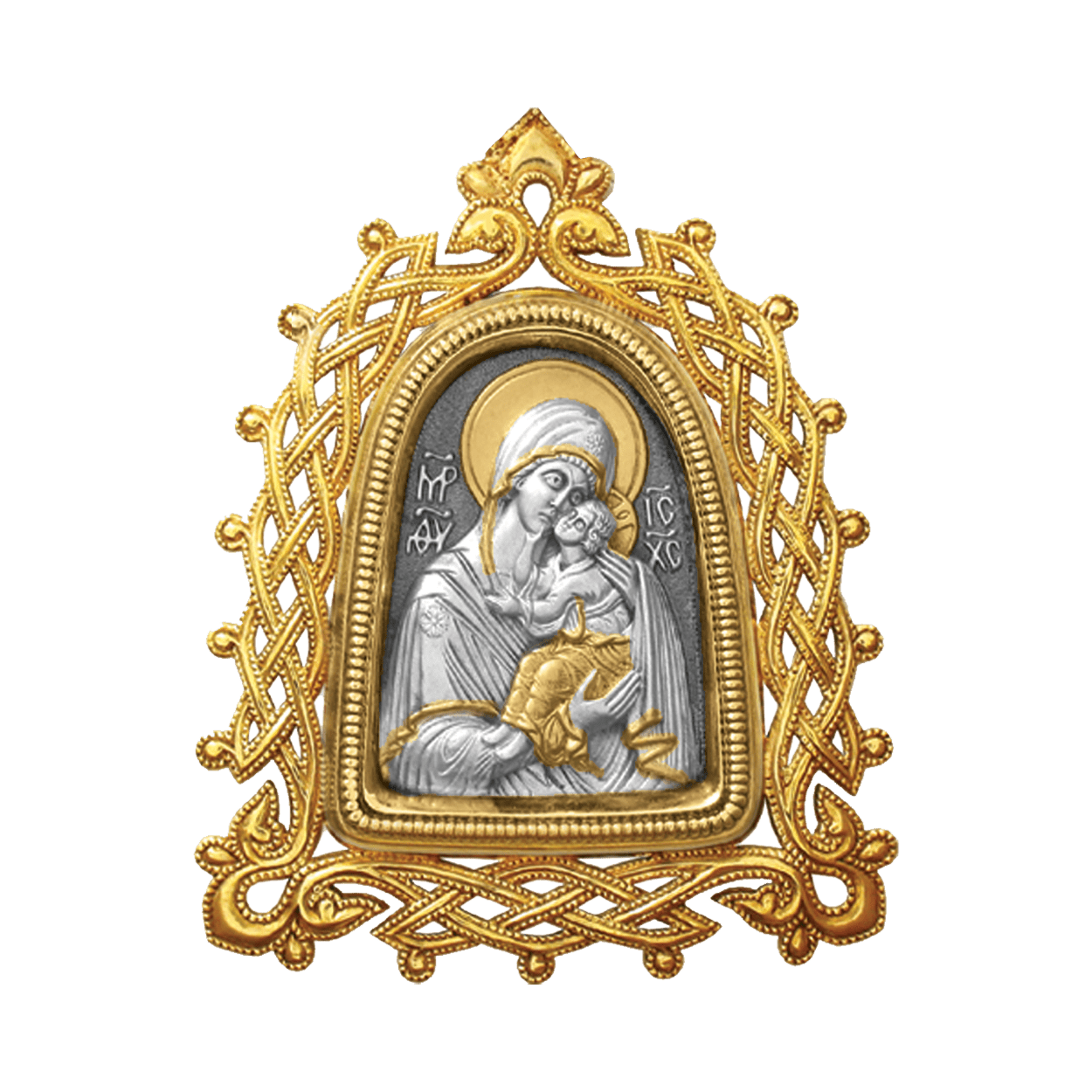 Russian-Orthodox-Icon-silver-medal-pendant-OUR-LADY-OF-YAROSLAVL-with-openwork-frame-Master-Jeweler-Fedorov
