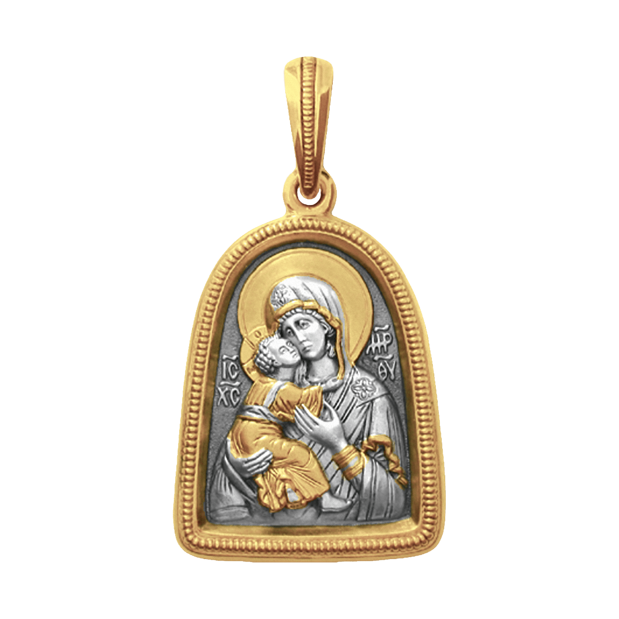 Russian-Orthodox-Icon-silver-medal-pendant-OUR-LADY-OF-VLADIMIR-Master-Jeweler-Fedorov