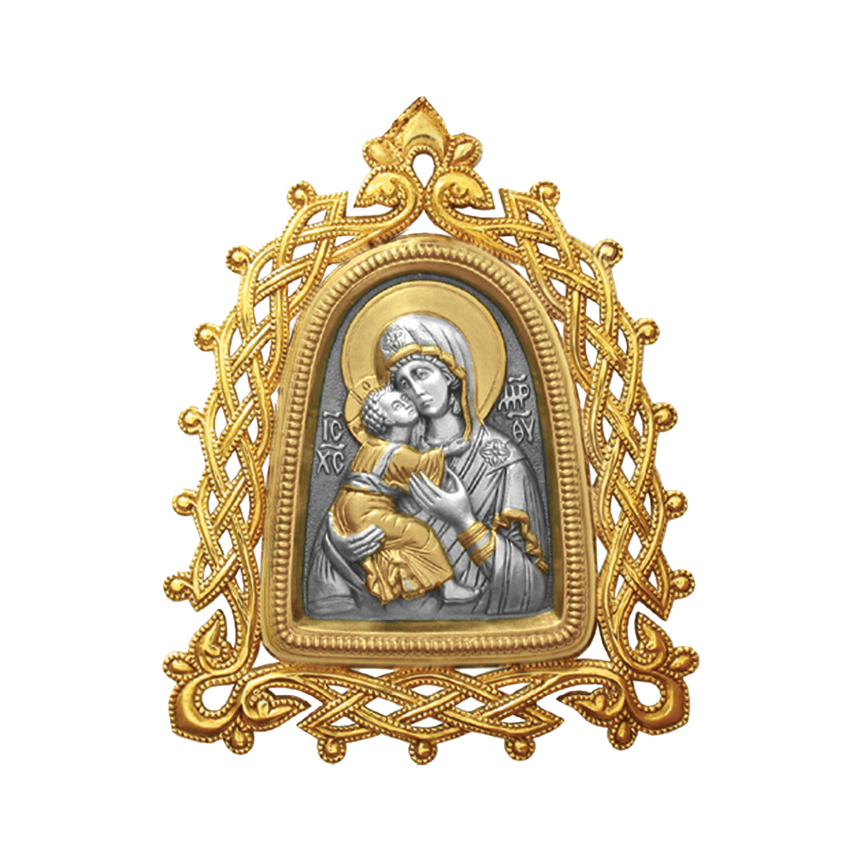 Russian-Orthodox-Icon-silver-medal-pendant-OUR-LADY-OF-VLADIMIR-with-openwork-frame-Master-Jeweler-Fedorov
