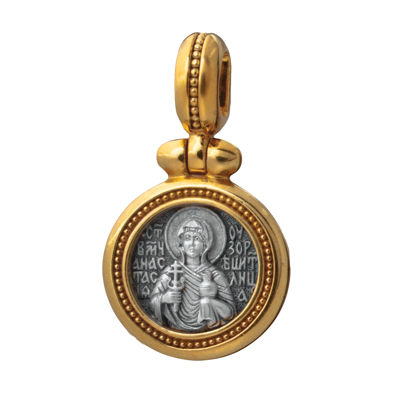 Russian-Orthodox-silver-icon-pendant-SAINT-ANASTASIA-OF-SIRMIUM-PHARMAKOLYTRIA