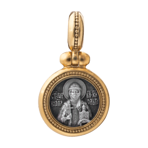 Russian-Orthodox-silver-icon-pendant-SAINT-OLGA-PRINCESS-REGENT-OF-KIEV-EQUAL-OF-THE-APOSTLES-Master-Jeweler-Fedorov