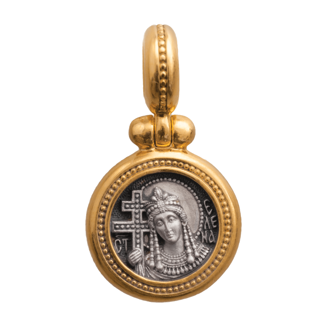 Russian-Orthodox-silver-icon-pendant-SAINT-EMPRESS-HELENA-EQUAL-OF-THE-APOSTLES-Master-Jeweler-Fedorov