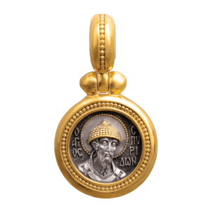 Russian Orthodox silver icon medal pendant SAINT SPYRIDON BISHOP OF TRIMYTHOUS Master Jeweler Fedorov