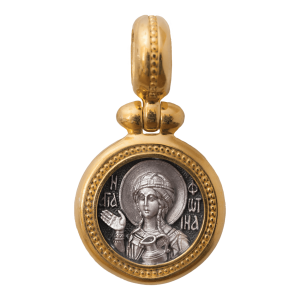 Russian-Orthodox-silver-icon-pendant-SAINT-PHOTINA-SVETLANA-THE-HOLY-MARTYR-Master-Jeweler-Fedorov