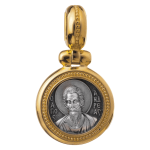 Russian-Orthodox-silver-icon-pendant-SAINT-ANDREW-THE-FIRST-CALLED-Master-Jeweler-Fedorov