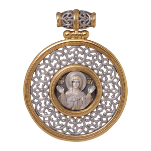 Russian-Orthodox-Icon-silver-medal-pendant-VIRGIN-MARY-THEOTOKOS-ORANTA-Master-Jeweler-Fedorov