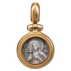 Russian-Orthodox-silver-Icon-medal-pendant-SAINT-IRENE-GREAT-MARTYR-OF-THESSALONIKI-Master-Jeweler-Fedorov