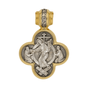 Russian-Orthodox-silver-cross-pendant-RESURRECTION-Master-Jeweler-Fedorov