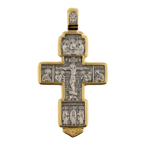 Russian-Orthodox-silver-Cross-pendant-CRUCIFIXION-THE-GOOD-THIEF-Master-Jeweler-Fedorov