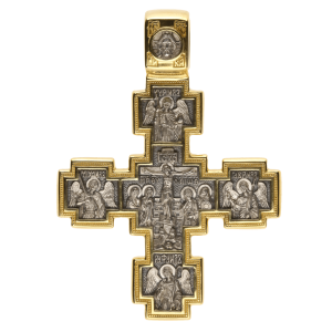 Russian Orthodox silver Cross pendant CRUCIFIXION Saint NICETAS' VICTORY OVER THE DEMON Master Jeweler Fedorov