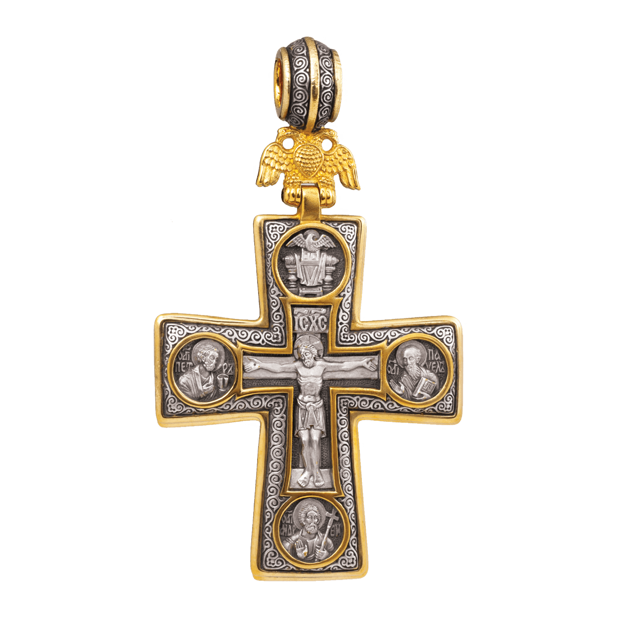 Russian-Orthodox-silver-Cross-pendant-CROSS-OF-SAINT-PETERSBURG-Master-Jeweler-Fedorov