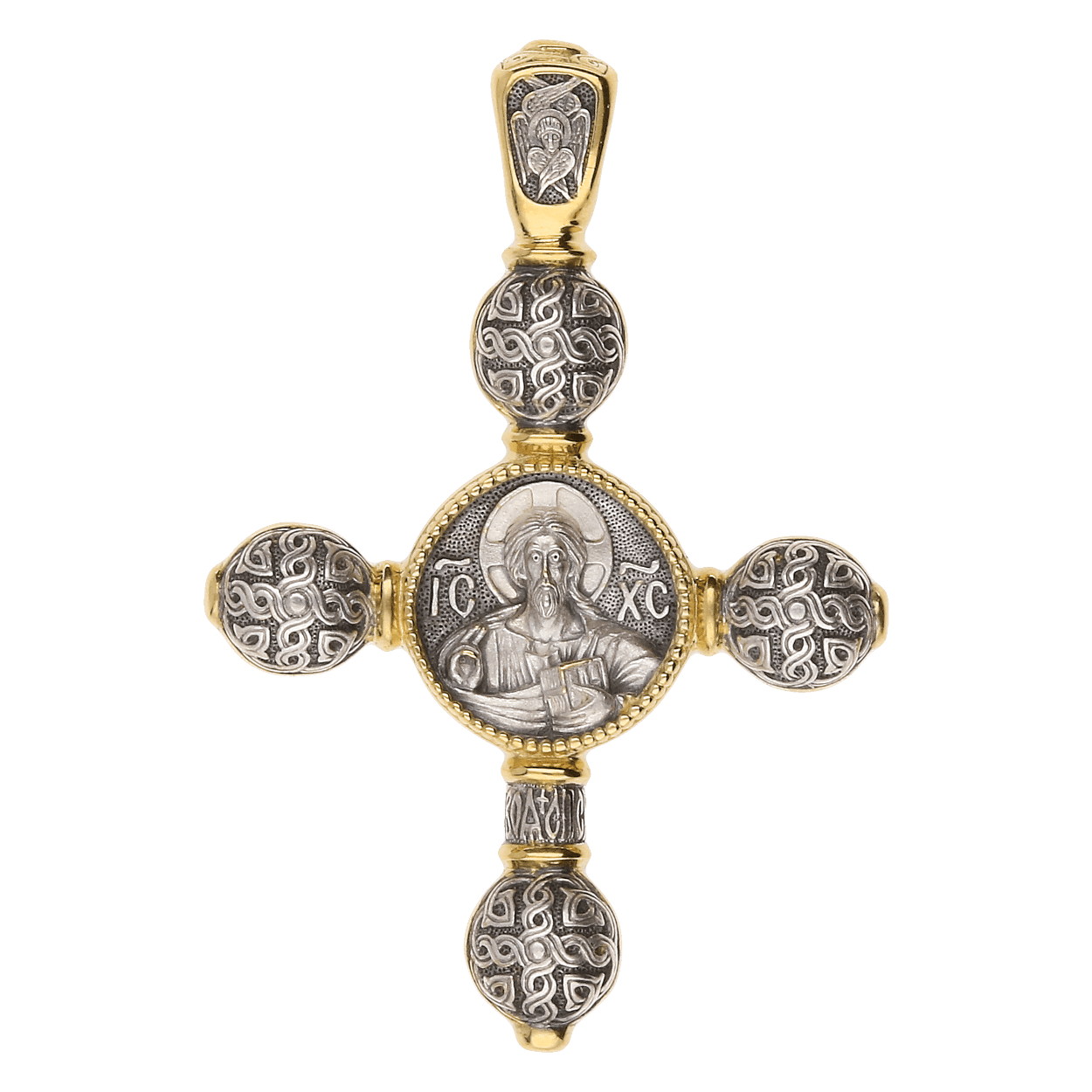 Russian Orthodox silver Cross pendant THE LORD ALMIGHTY THEOTOKOS ASSUNTA, Master Jeweler Fedor