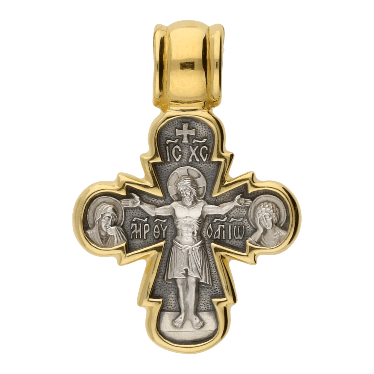 Russian-Orthodox-silver-Cross-pendant-CRUCIFIX-WITH-THE-HOLY-INTERCESSORS-THEOTOKOS-ORANTA-Master-Jeweler-Fedorov