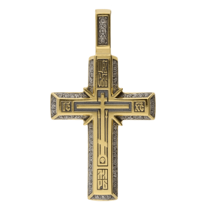Russian Orthodox silver Cross pendant THE CROSS OF CALVARY PRAYER TO THE HOLY CROSS, Master Jeweler Fedor