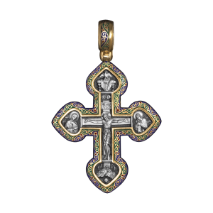 Russian-Orthodox-silver-enamaled-Cross-pendant-CRUCIFIXION-LORD-HAVE-MERCY-Master-Jeweler-Fedorov