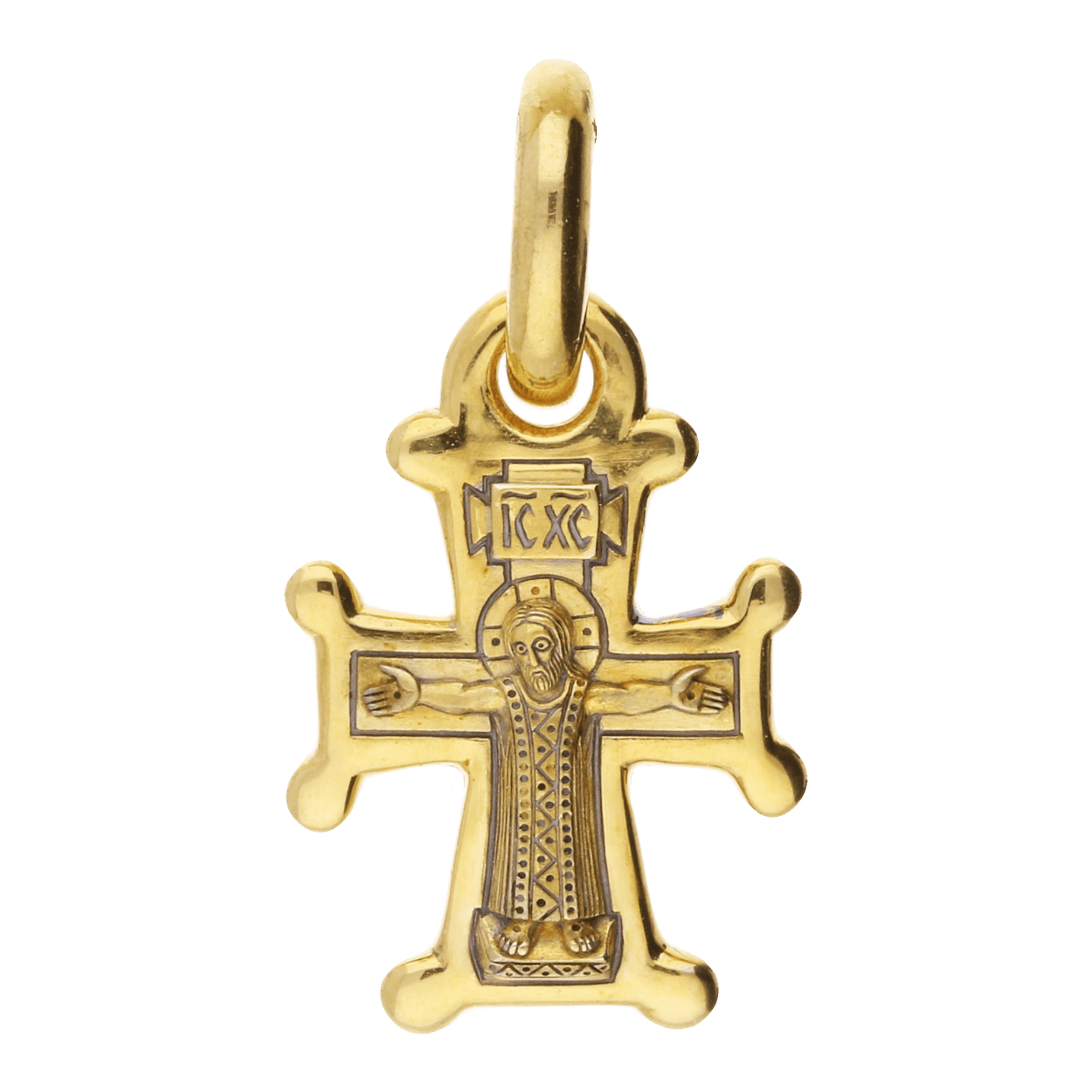 Russian Orthodox silver Cross pendant CRUCIFIXION THEOTOKOS ORANTA SYRIAN VERSION Master Jeweler Feodorov