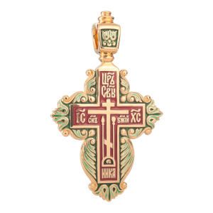 Russian-Orthodox-Old-Believers-silver-enameled-cross-pendant-for-woman-BLOSSOMING-CROSS-Master-Jeweler-Fedorov