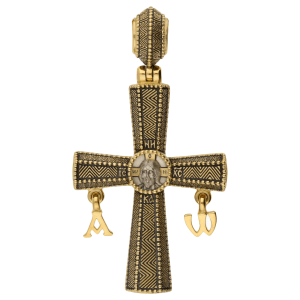 Russian Orthodox silver Cross pendant HOLY FACE OF THE SAVIOR NOT MADE BY HUMAN HANDS with the pendants ALPHA and OMEGA Master Jeweler Feodorov