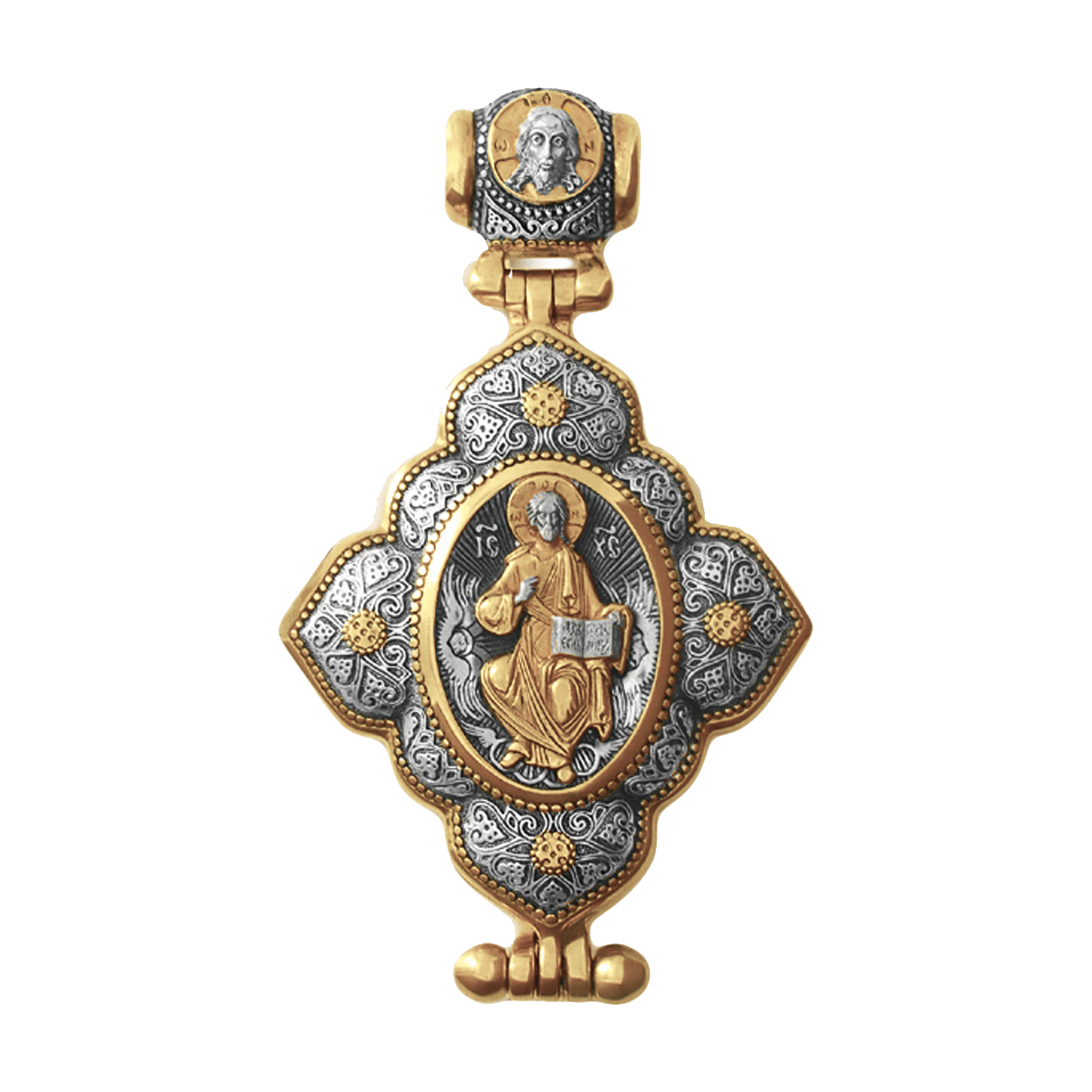 Russian-Orthodox-silver-Reliquary-cross-pendant-OUR-SAVIOR-IN-HIS-GLORY-Master-Jeweler-Fedorov