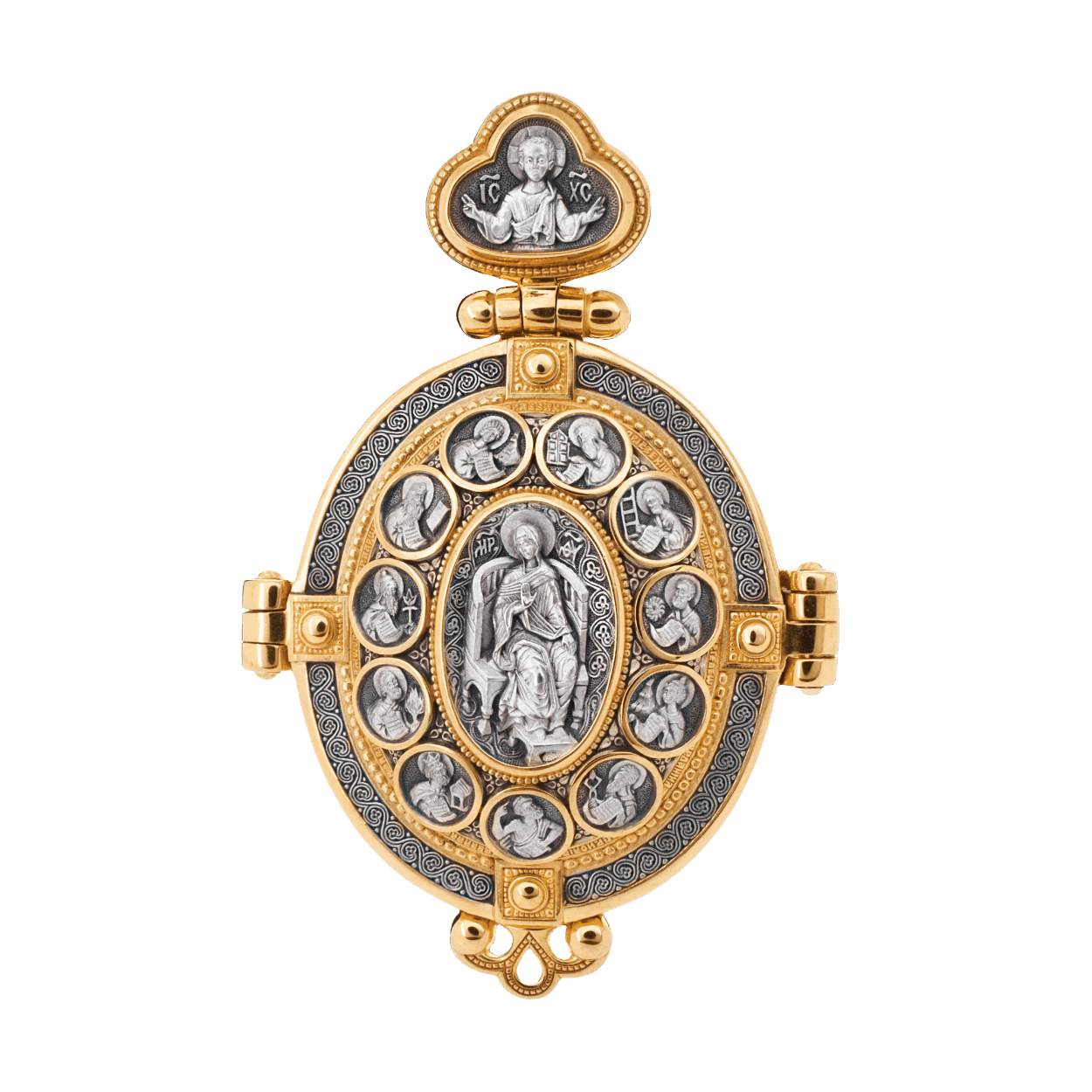 Russian-Orthodox-silver-Foldable-icon-medal-pendant-PRAISE-BE-TO-THE-MOTHER-OF-GOD-THEOTOKOS-Master-Jeweler-Fedorov