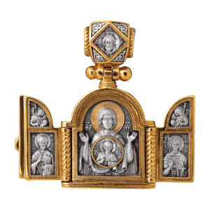 russian-orthodox-silver-triptych-icon-pendant-SIGN-master-jeweler-fedorov