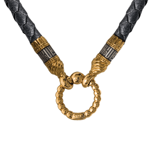 Russian-Orthodox-braided-leather-cord-with-end-crimps-and-ring-clasp-with-payer-Master-Jeweler-Fedorov