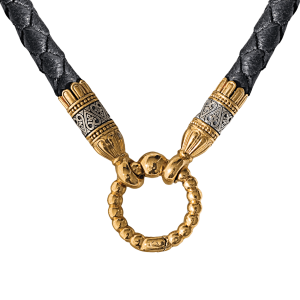 Russian-Orthodox-braided-leather-Cord-with-end-crimps-and-ring-clasp-with-ornament-Master-Jeweler-Fedorov
